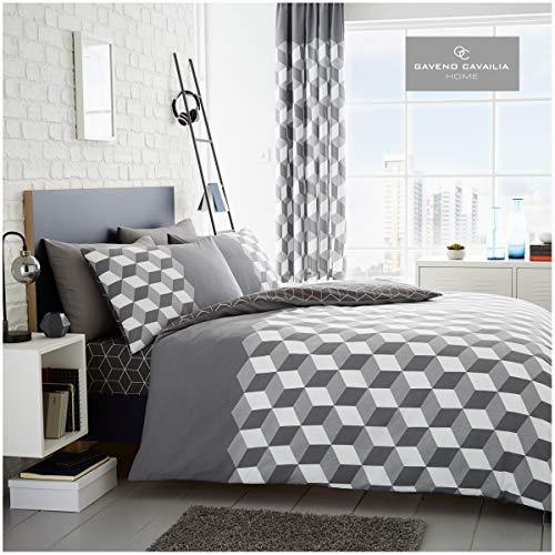 Gaveno Cavailia Geometric Cube Design Duvet Cover Quilt Set With Pillow Case, Reversible, Poly Cotton, Cubix Grey, Superking Size Bedding, Polycotton, SUPER KING