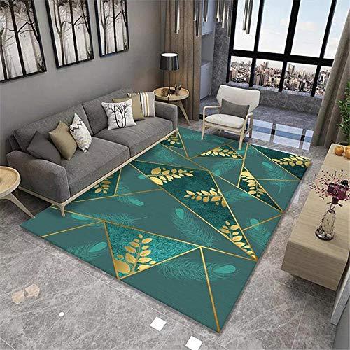 La Alfombra Alfombra Salon Verano Diseño de triángulo geométrico Amarillo Verde con Hojas Decoración del patrón alfombras Salon Alfombra niña habitacion 100*200cm