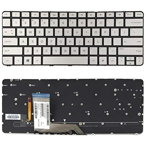 Skdey Super Durable US Version Keyboard with Keyboard Backlight for HP Spectre X360 13T-4000 13-4000 4103DX (Silver) (Color : Silver)