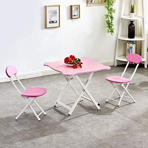 Kinder Schreibtisch Kompakter beweglicher Tisch und Stuhl, Haus Folding Esstisch, Kinderkindertisch und 2 Stuhl Set Kindersitz (Color : Pink)