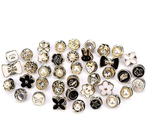 FOLENZU Camisa de Mujer Broche de Botones para Cubrir el botón de Seguridad, Mini Broche, Insignias, previene la exposición Accidental de Botones, Broche de Perlas