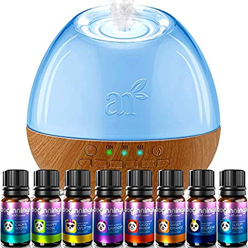 ArtNaturals Sound Machine Oil Diffuser and Top 8 Baby Essential Oils - (300ml Tank) - 6 Sounds - Aromatherapy and White Noise for Relaxation and Sleeping - Baby, Kids, and Adults - Night Light
