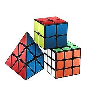 Speed Cube Set, ROXENDA Magic Cube Set of 2x2x2 3x3x3 Pyramid Smooth Puzzle Cube from Roxenda