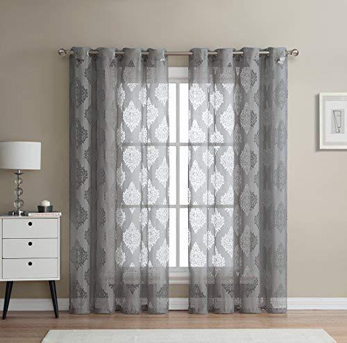 "HLC.ME Adel Damask Burnout Window Sheer Voile Curtain Grommet Panels - Set of 2-84"" inch Long (Grey)"