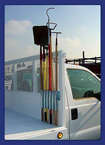Heavy Duty Universal Mount - Garden Tool Holding Rack for Rake, Shovel, Etc. - Landscaper, Gardener & Contractor - Commercial Grade Truck & Trailer Mounted Steel Tool Rack (Universal Mount)