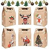 heekpek 24 Cajas de Regalo Navidad Bolsas de Regalo Kraft con Mango Bolsas Calendario de A...