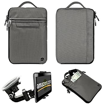 Silver Gray Durable Nylon Protective Carrying Cover Sleeve for Kindle Fire Full Color 7 inch Multi Touch Display Wi Fi and Compatible Universal Windshield Mount for Kindle Fire