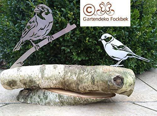 Gartendeko Fockbek Figur Vogel/Vögel Blaumeise und Spatz auf Holzstamm Rosdeko Geschenk Deko