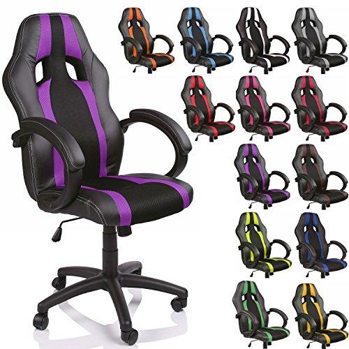 TRESKO Silla de Oficina Racing Silla de Escritorio Ordenador giratoria Disponible en 14 Colores, Bicolor, Silla Gaming ergonómica, pistón de Gas Certificado por SGS, (Negro/Púrpura)