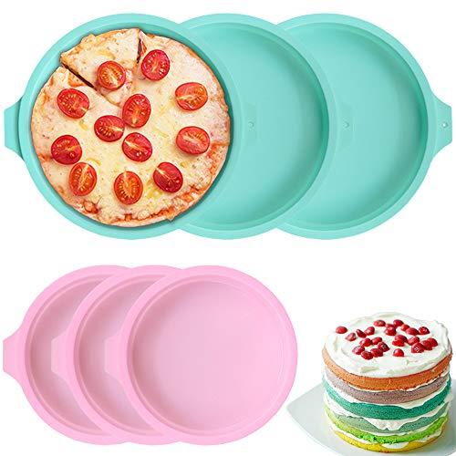 PUDSIRN 6 moldes de silicona para tartas, moldes redondos de silicona para hornear pasteles de 15,2 cm y 20,3 cm para fiestas de cumpleaños, bodas y aniversarios (15,2 cm rosa + 20,3 cm verde)