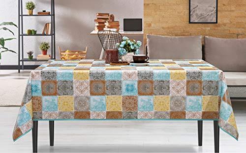 De'Carpet Mantel Hule Estampado Rectangular Redondo Baldosa Hidráulica Multicolor (120x120cm)