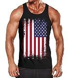 MoonWorks - Camiseta de tirantes para hombre, diseño de la bandera de Estados Unidos Negro  XL