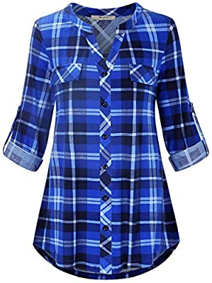 Miusey Plaid Womens Shirts, Tunic V Neck For Women Long Sleeve Plus Size Button Down Great Length with Legging Pleated Roomy Good Fit Graceful Elegant Pockets Blue Plaid XL