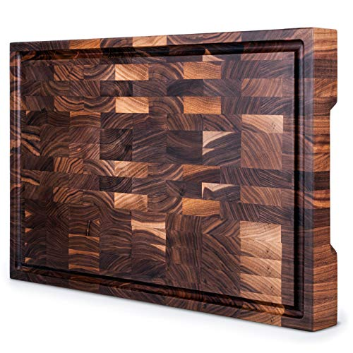 Mevell Walnut End Grain Cutting Board, Canadian Made Large Wood Butcher Block for Kitchen, Reversible with Juice Groove (Walnut, 20x13x2)