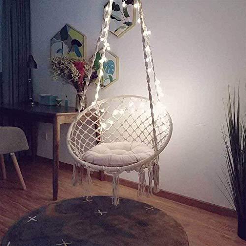 DNNAL Hängesessel mit LED-Leuchten, Handgemachte gestrickter Makramee Hammock Swing-Stuhl für 2-16 Jahre alt Kinder, Schlafzimmer, Innen-, Hof, Garten