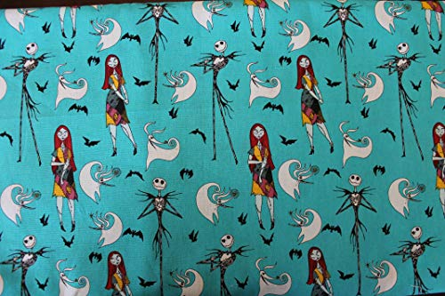 Nightmare Before Christmas Fabric Jack and Sally with Zero Sold by The Fat Quarter (18' X 22') New BTFQ