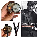 Shan-S Men's USB Cigarette Lighter Quartz Watch,Fashion Casual Windproof Flameless Cigar Lighter 2 in 1 Wristwatches Stainless Steel Multi Needle Sports Digital Quartz Wrist Watches (Black)