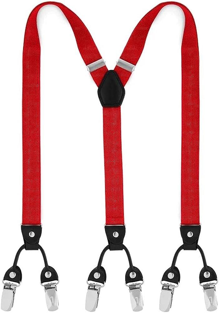 Fashion Men Or Women Suspsneder Festival Slim Adjustable 6 Clips Braces Suspenders 2.5Cm Width