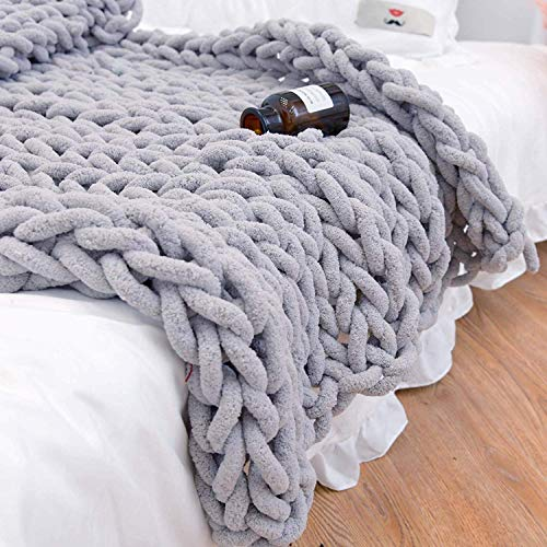 clootess Chunky Knit Blanket Chenille Throw - Warm Soft Cozy for Sofa Bed Boho Home Decor (Grey 40x40 in)