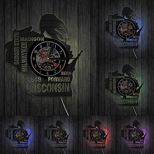 I love Wisconsin Badger State Beer - Reloj de pared para decoración de pared, diseño de milwaykee Madison con luces LED