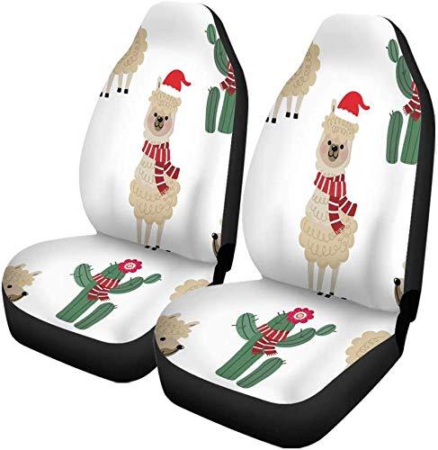 Set van 2 auto stoelhoezen schattig alpaca dragen kerst kostuum en cactus dier universele auto voorstoelen beschermer past voor auto, Suv Sedan