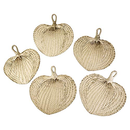 Koyal Wholesale Natural Raffia Hand Fans, 12-Pack Palm Leaf Hand Fans, Buri Fans, Handmade Raffia Fans, Wedding Favor Fans, Favor for Wedding, Fan Programs Wedding