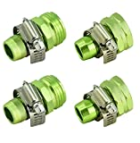 PLG Garden Hose Repair Connector with Clamps 2 Male + 2 Female Garden Hose End Fittings,Green