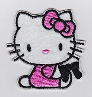 SANRIO CUTE HELLO KITTY PINK DRESS SITTING WITH BLACK RIBBON- Iron on Patches/Sew On/Applique/Embroidered