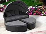 Oakmont Patio Furniture Outdoor Daybed Round Sofas with Canopy, Black Wicker, 4 Pieces Seating Separates Cushioned Seats Lawn Poolside Garden