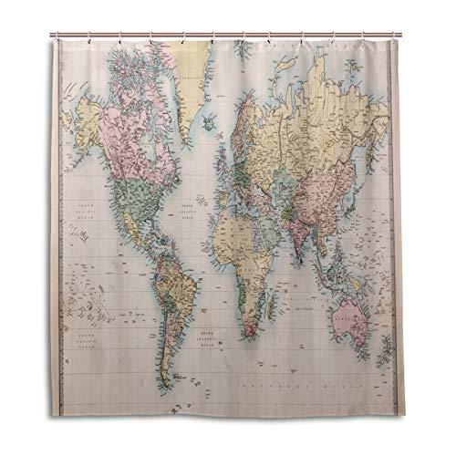 BIGJOKE Duschvorhang, Retro-Weltkarte, schimmelresistent, wasserdicht, Polyester, 12 Haken, 167,6 x 182,9 cm, Heimdekoration