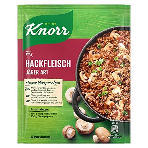 Knorr Fix Hackfleisch Jäger Art (mit nachhaltig angebauten Zutaten ohne geschmacksverstärkende Zusatzstoffe und Farbstoffe), 3 Portionen, 1er Pack (1 x 36 g)