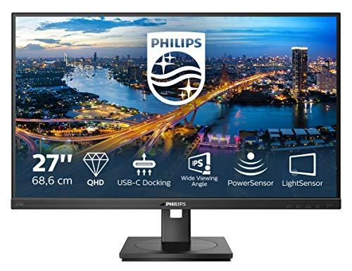 Philips 276B1 - 27 Zoll QHD USB-C Docking Monitor, höhenverstellbar (2560x1440, 75 Hz, HDMI, DisplayPort, USB-C, RJ45, USB Hub) schwarz