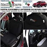 COPPIA COPRISEDILI Fiat 500X SU MISURA Fodere Foderine SOLO ANTERIORI Vari Colori (Nero)