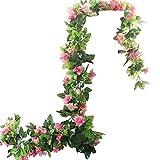 BlueXP 2 Unidades 230cm Guirnalda de Rosas Artificiales con Hojas Verdes Hiedra de Seda Plantas Colgantes para Colgar Decoración Boda Arco Cercas Hogar Navidad Interior Partido-Rosa