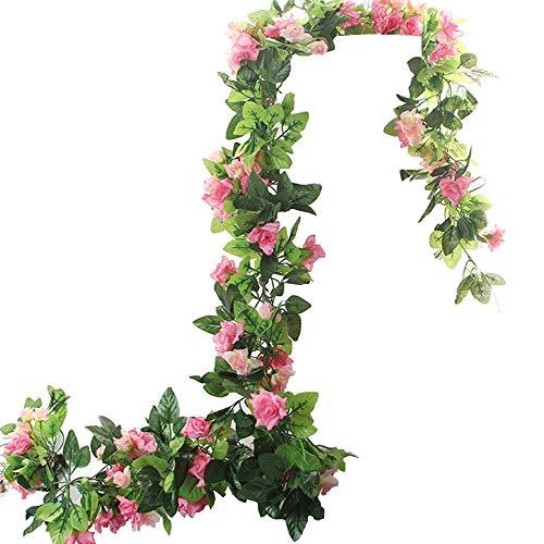BlueXP 2 Stück 260cm Künstliche Blume Girlanden Kunstseide Rosen Blumen Girlande Simulation Hängende Dekoration Blumen und Blätter Dekor Zuhause Hochzeit Party Garten Faux Vine Rattan Rosa