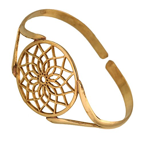 Chic-Net Messing Armreif antik golden oval Blume rund groß verstellbarTribal Schmuck