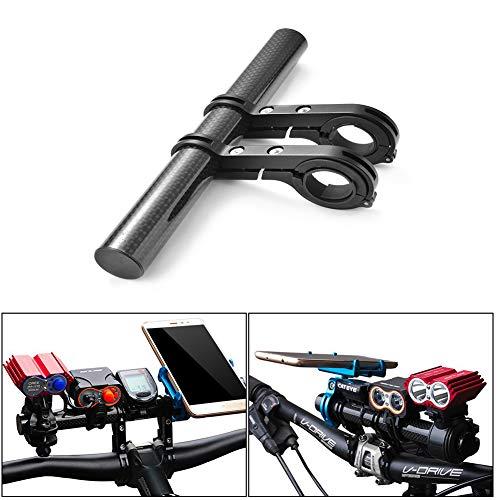 Soporte extensor de manillar de bicicleta de 15 cm doble abrazadera de aleaci/ón de aluminio Extensi/ón de manillar de bicicleta de bicicleta s/úper larga l/ámpara de luz Soporte de montaje de tel/éfono