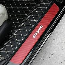 Car Door Threshold Plate Carbon Fiber Scuff Sticker Door Sill Sticker For Honda Civic (RED&WHITE)