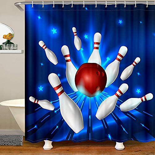 Homewish Bowling Shower Curtain White Bottle and Red Ball Print Bath Curtain for Kids Boys Sports Theme Waterproof Bathroom Curtain with 12 Hooks Suits for Bathtub, 72' W x 84' L