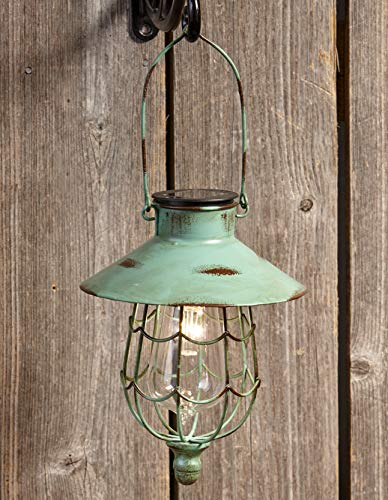 lakesideCT DISCOUNT STORE Distressed Porch Lantern - Solar-Powered Light with Vintage-Style Cage - Green