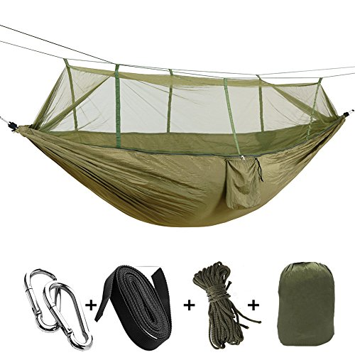 sheny Ultra-Light Hängematte Parachute Material für Outdoor/Camping,Belastbarkeit bis 200 kg,260cm*140cm blau (Typ2 mit Moskitonetz Armee-Grün)