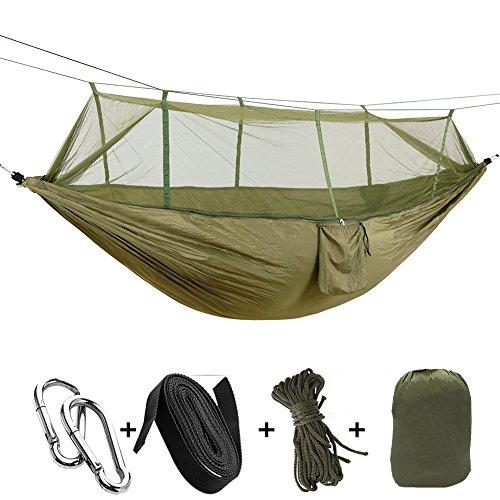 Wiiguda@ Amaca Zanzariera Nylon di Paracadute Hammock Mosquito Ultra Leggera per Outdoor Campeggio Viaggio 200 kg capacità di Carico 260 * 140 cm Traspirante Nylon di Paracadute (Verde)
