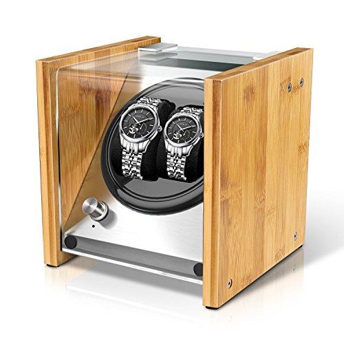 最新型 Watch winder ワインディングマシーン ウォッチワインダー 腕時計ケース 2本同時巻 日本製マブチモーター ナチュラル木目 磁化防止 4本巻きタイプも選択できます 一年保証期間(B1)