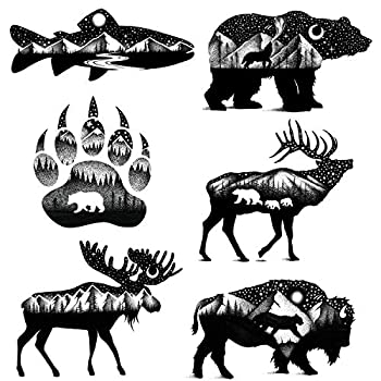 6 sheets temporary tattoos black and white animals for adults teen - realistic bear wolf fish bird eagle long lasting fake face tatoos stickers for arm