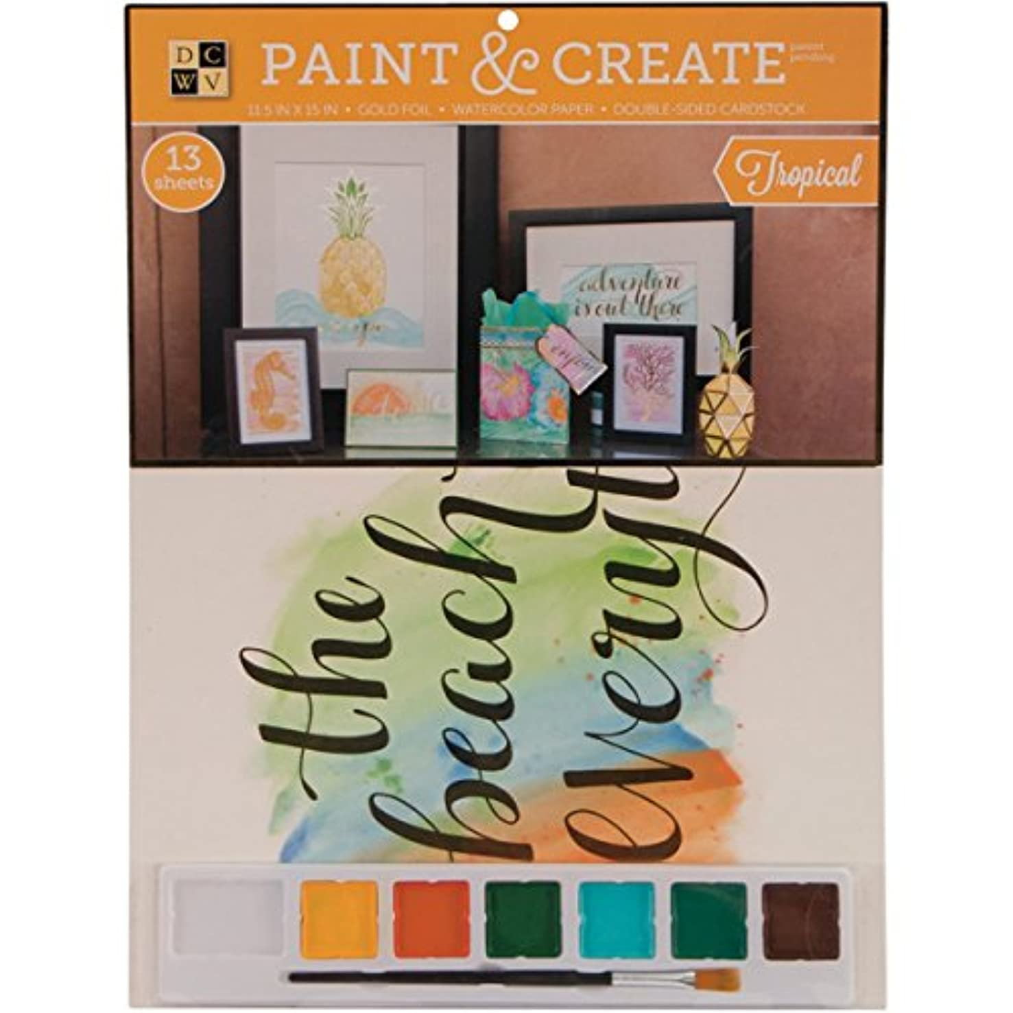 Diecuts with A View Paint and Create Watercolour Kit 11.5-Inch x 15-Inch Tropical with Gold Foil, Paper, Multicoloured