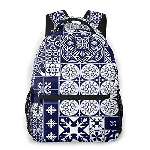Rucksack Männer Und Damen, Laptop Rucksäcke für 14 Zoll Notebook, Fliesen Spanish Ceramic Middle 1 Kinderrucksack Schulrucksack Daypack für Herren Frauen