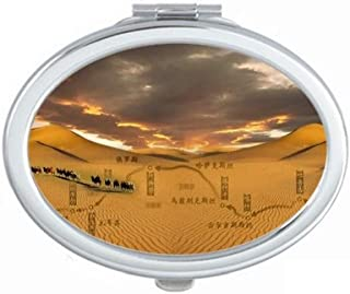 Map Desert Along the Way to the Silk Road Mirror Portable Fold Hand Makeup Double Side Glasses