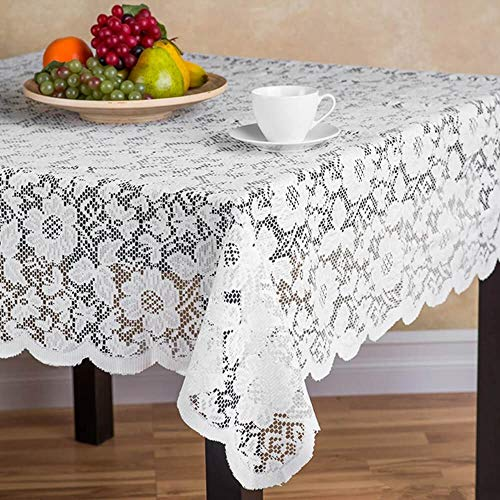 Beige White Lace Floral Square Tablecloth for Holiday Festival Party Baby Shower Valentines Day Tablecloths Vintage Banquet Table Cloth Cover for Round Square Dinning Room Kitchen Tables, 72''x72''