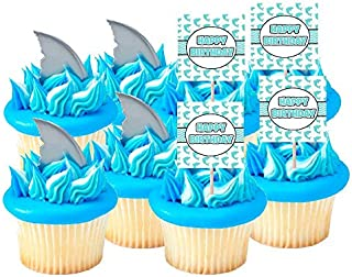 Ocean Sea Creature Cake & Cupcake Party Supplies Decoration Toppers (Shark Finns & Birthday Cupcake Toppers -12pk)