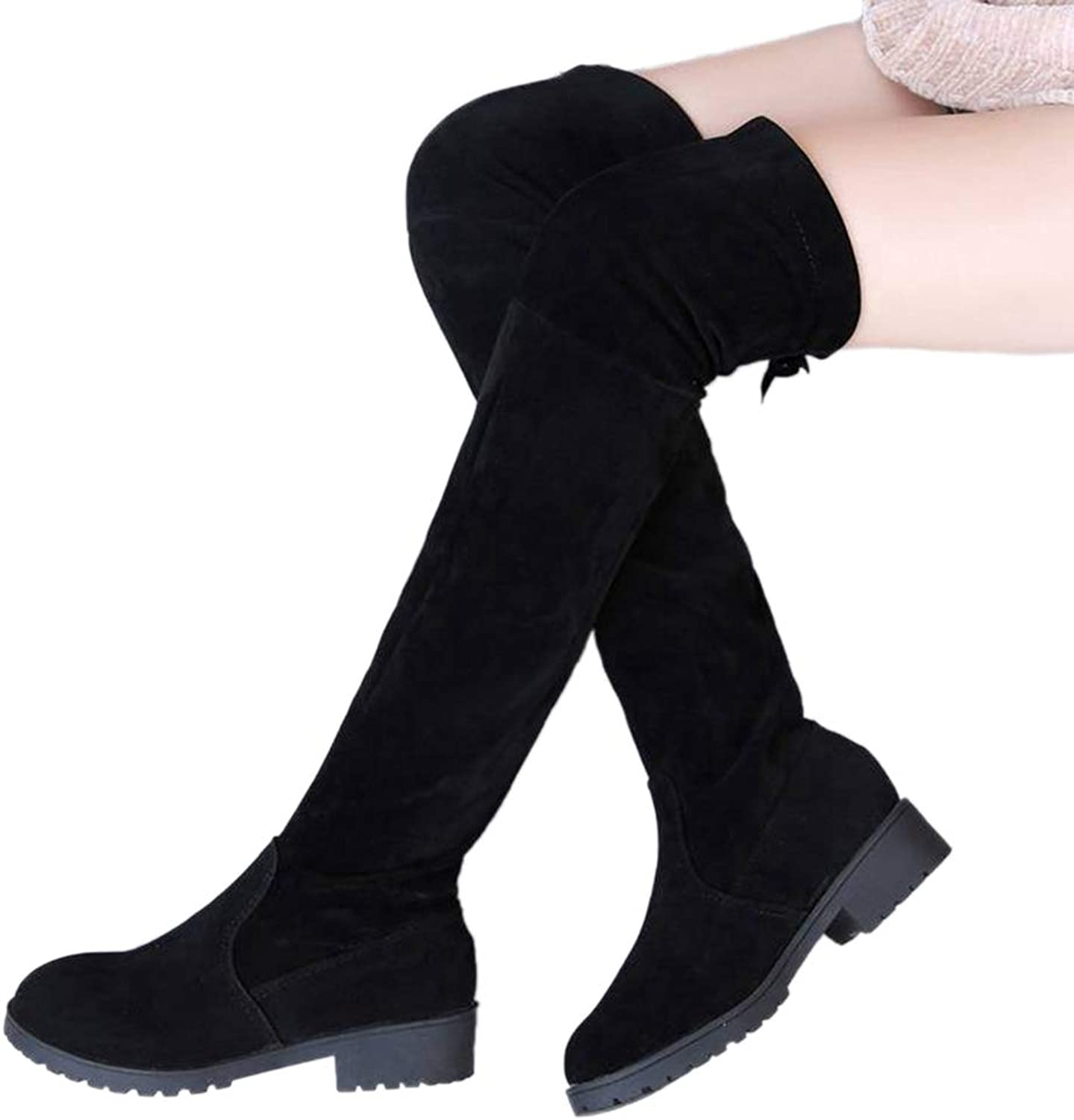 Knee High shoes for Women Square Low Heel Ladies Over The Knee Black Round Toe Motorcycle Thigh Boots